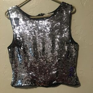 Silver Sequin Papell Boutique Shell Top